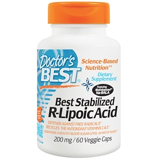 Doctor's Best, Best Stabilized R-Lipoic Acid, 200 mg, 60 Veggie Caps