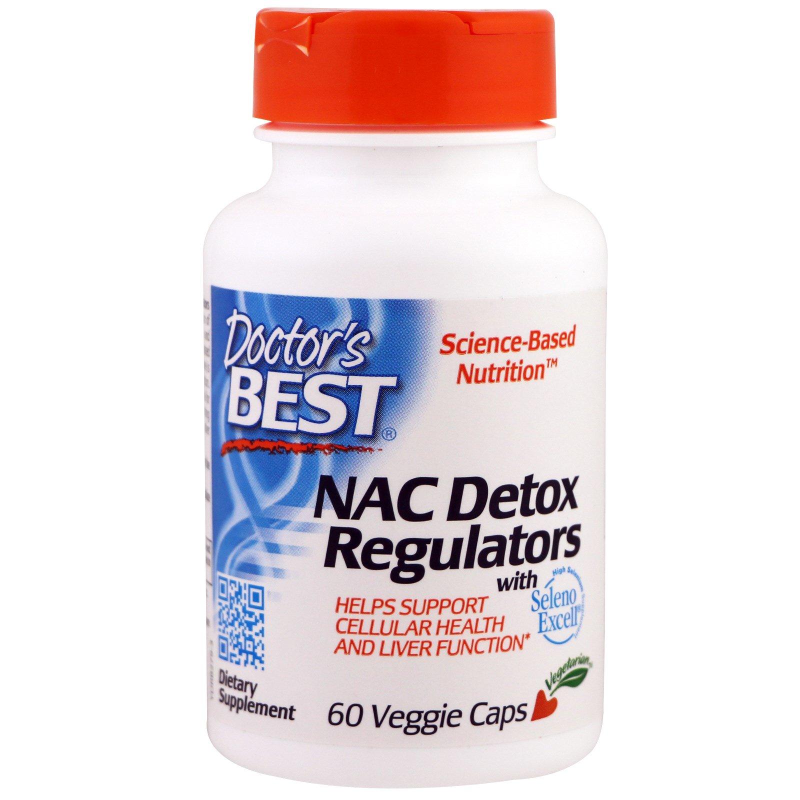 Doctor's Best, NAC регуляторы детоксикации, 60 растительных капсул