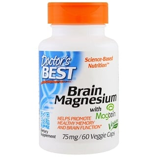 Doctor's Best, Brain Magnesium with Magtein, 75 mg, 60 Veggie Caps