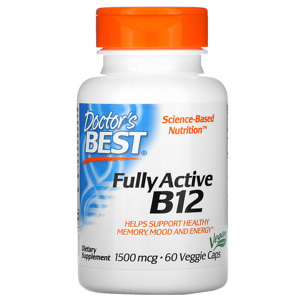 Doctor's Best, Fully Active B12, 1,500 mcg, 60 Veggie Caps