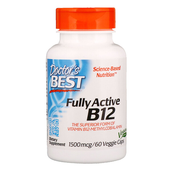 Best Fully Active B12, 1500 mcg, 60 cápsulas vegetales