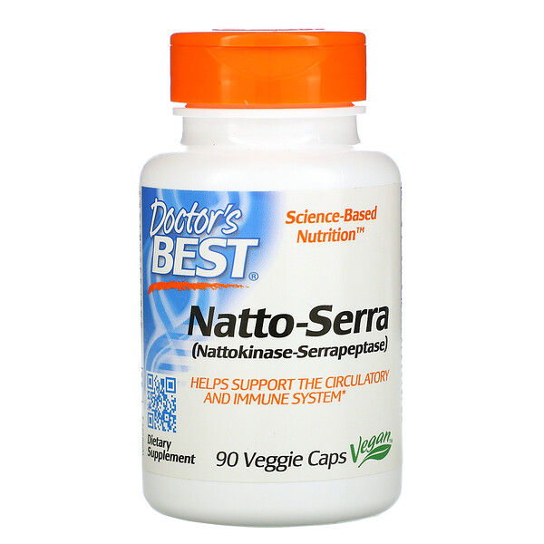 Doctor's Best, Natto-Serra, 90 cápsulas vegetales