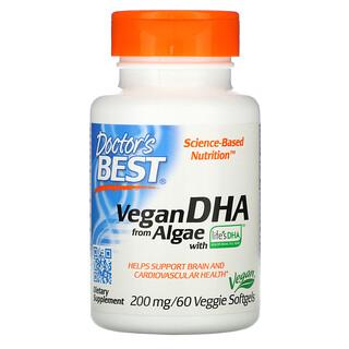 Doctor's Best, DHA vegano proveniente de las algas con Life'sDHA, 200mg, 60cápsulas blandas vegetales