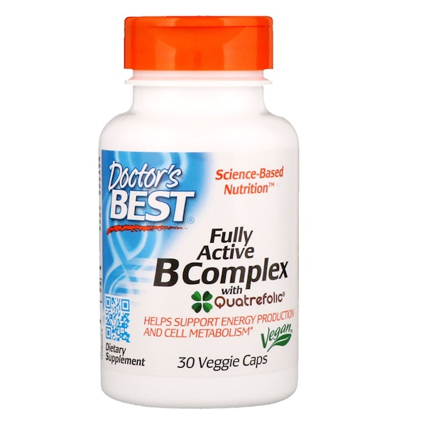 Doctor's Best, Fully Active B Complex עם Quatrefolic, 30 כמוסות צמחיות