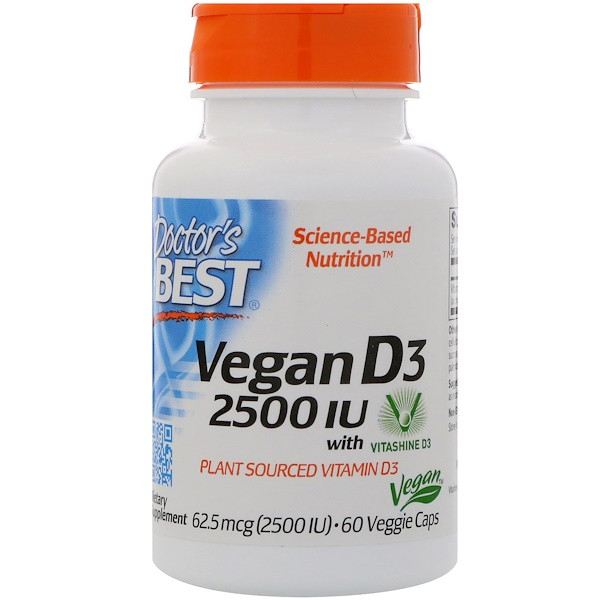 Doctor's Best, Vegan D3, 2,500 IU, 60 Veggie Caps