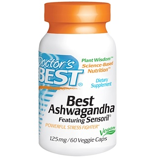 Doctor's Best, Best Ashwagandha, Featuring Sensoril, 125 mg, 60 Veggie Caps