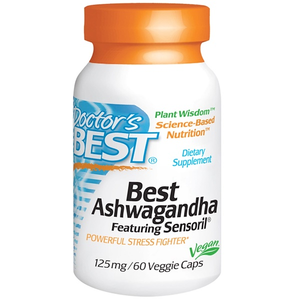 Doctor's Best, Best Ashwagandha, Featuring Sensoril, 125 mg, 60 Veggie Caps