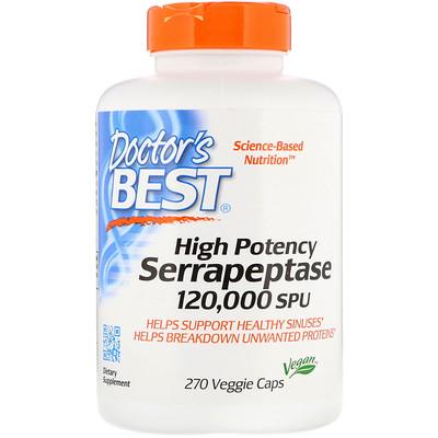 Купить Серрапептаза высокой эффективности, 120 000 единиц серрапептазы, 270 вегетарианских капсул