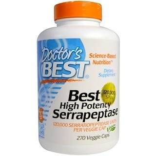 Doctor's Best, ベスト® 高効能 セラペプターゼ, 120,000 SPUs, 270 ベジカプセル