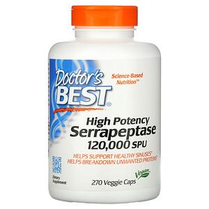 Докторс Бэст, High Potency Serrapeptase, 120,000 SPU, 270 Veggie Caps отзывы покупателей