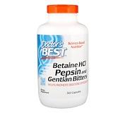 Отзывы о Doctor's Best, Горькая настойка из бетаина гидрохлорида, пепсина и генцианы (Betaine HCl, Pepsin & Gentian Bitters), 360 капсул