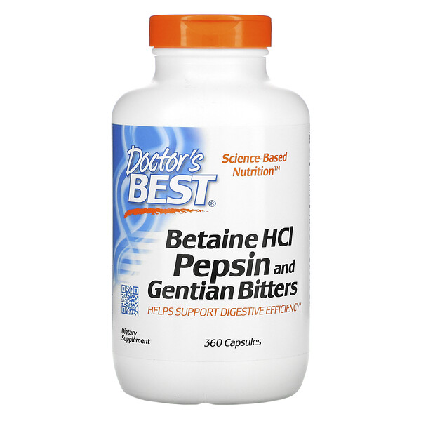 Doctor's Best, Betaine HCL, Pepsin and Gentian Bitters, 360 Capsules