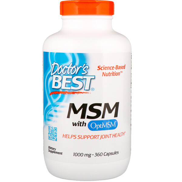 Doctor's Best, MSM con OptiMSM, 1000 mg, 360 cápsulas