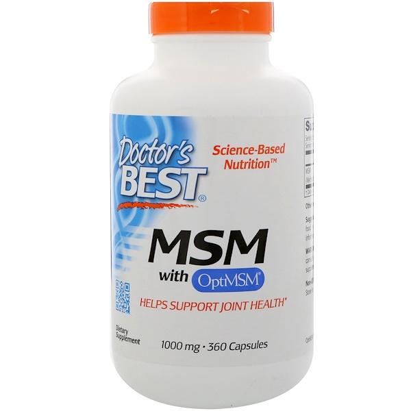 Doctor's Best, MSM with OptiMSM, 1000 mg, 360 Capsules