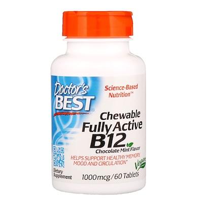 Фото - активный витамин B12, со вкусом шоколада и мяты, 1000 мкг, 60 жевательных таблеток ht tea blend со вкусом шоколада и мяты 20 чайных саше 40 г 1 4 унции