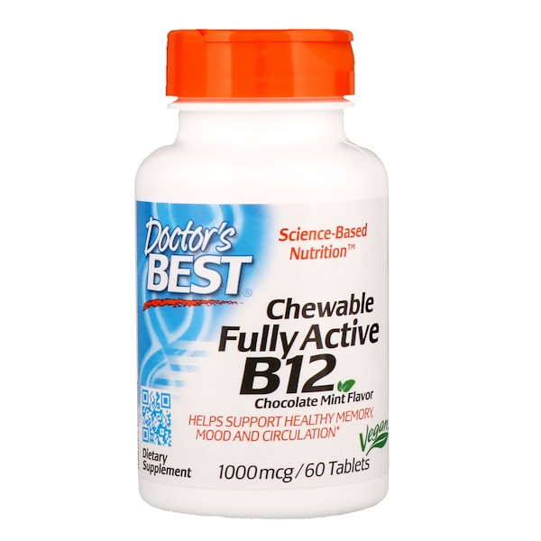 Doctor's Best, Chewable Fully Active B12, Chocolate Mint, 1,000 mcg, 60 Tablets