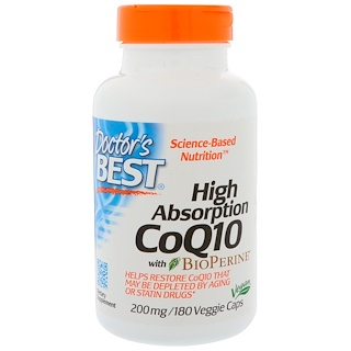 Doctor's Best, Коэнзим Q10 высокого усвоения с биоперином, 200 мг, 180 вегетарианских капсул