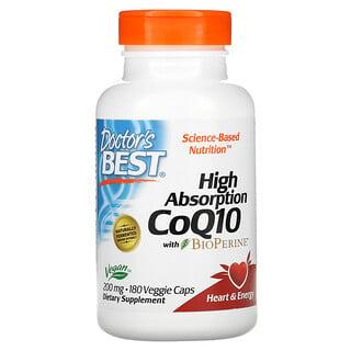 Doctor's Best, коэнзимQ10 с высокой степенью усвояемости, с BioPerine, 200мг, 180вегетарианских капсул