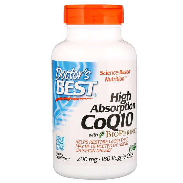 Doctor's Best, CoQ10 Haute Absorption avec BioPerine, 200 mg, 180 capsules vegan