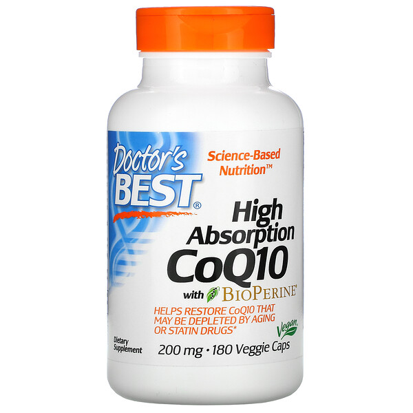 High Absorption CoQ10 with BioPerine, 200 mg, 180 Veggie Caps