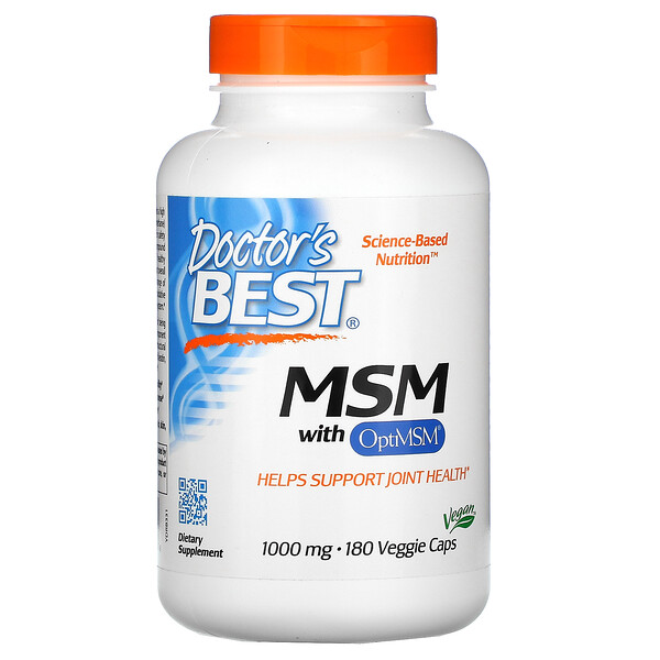 Doctor's Best, MSM with OptiMSM , 1,000 mg, 180 Veggie Caps