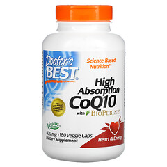 Doctor's Best, 高吸收輔酶 Q10,含 BioPerine,400 毫克,180 粒素食膠囊
