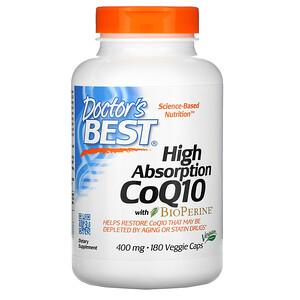 Докторс Бэст, High Absorption CoQ10 with BioPerine, 400 mg, 180 Veggie Caps отзывы покупателей