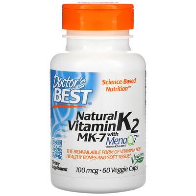Doctor's Best Натуральный витаминK2 MK-7 с MenaQ7, 100мкг, 60растительных капсул