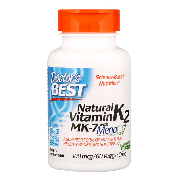 Natural Vitamin K2 MK-7 with MenaQ7, 100 mcg, 60 Veggie Caps