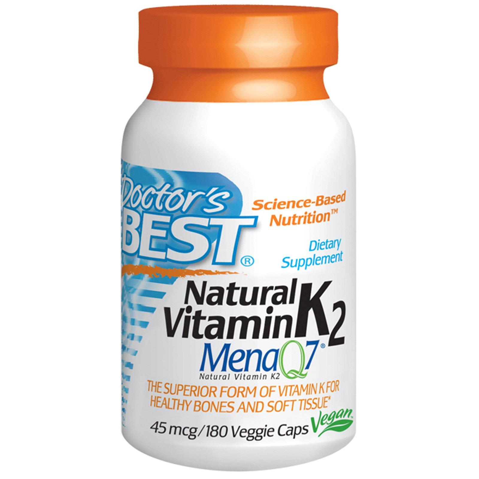 Doctor's Best, Натуральный витамин K2, Mena Q7, 45 мкг, 180 капсул на растительной основе