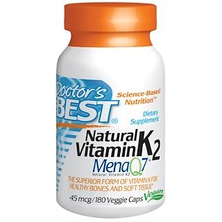 Doctor's Best, 天然ビタミンK2, Mena Q7®, 45 mcg, 180 ベジカプセル