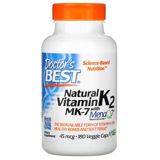 Doctor's Best, Natural Vitamin K2 MK-7 with MenaQ7, 45 mcg, 180 Veggie Caps