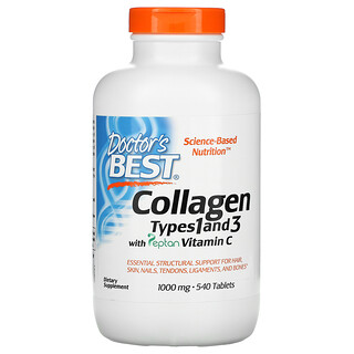 Doctor's Best, Collagen Types 1 and 3 with Peptan Vitamin C, 1,000 mg, 540 Tablets