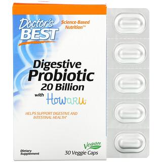 Doctor's Best, Digestive Probiotic with Howaru, 20 Billion CFU, 30 Veggie Caps