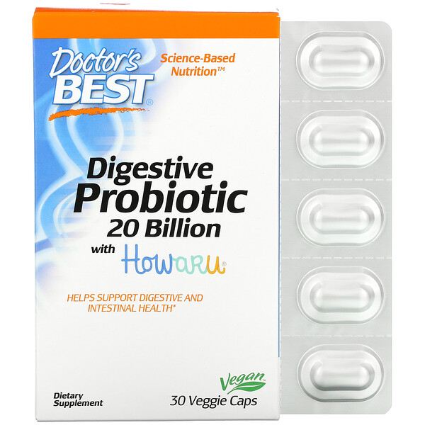 Digestive Probiotic with Howaru, 20 Billion CFU, 30 Veggie Caps
