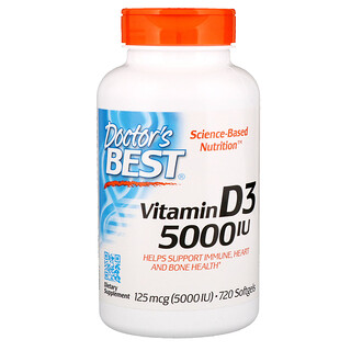 Doctor's Best, Vitamin D3, 125 mcg (5000 IU), 720 Softgels