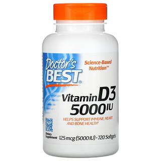 Doctor's Best, VitaminD3, 125mcg (5.000IU), 720Weichkapseln