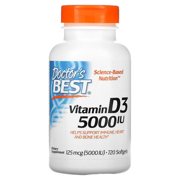 Vitamin D3, 125 mcg (5,000 IU), 720 Softgels