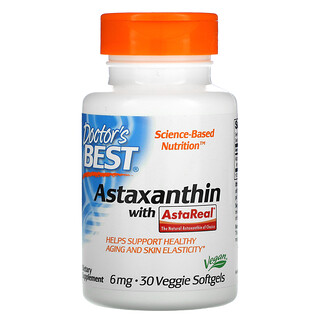 Doctor's Best, Astaxanthin with AstaReal, 6 mg, 30 Veggie Softgels