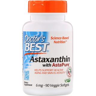 Doctor's Best, AstaPure配合アスタキサンチン、6 mg, ベジタリアンソフトジェル 90 錠