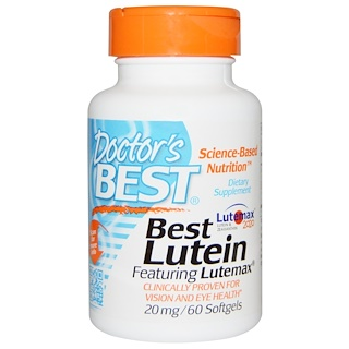 Doctor's Best, Best Lutein Featuring Lutemax, 20 mg, 60 Softgels