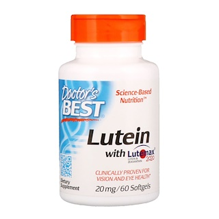 Doctor's Best, Lutein with Lutemax 2020, 20 mg, 60 Softgels