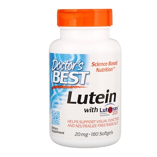 Doctor's Best, Lutein With Lutemax 2020, 20 mg, 180 Softgels