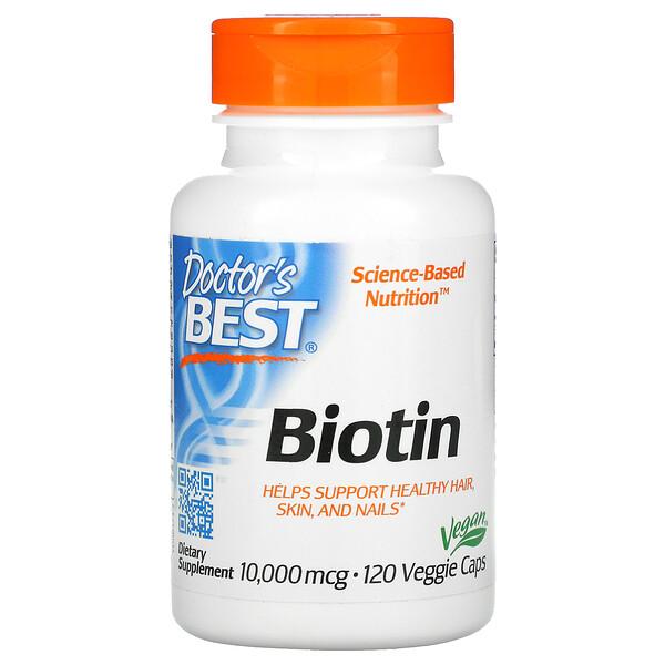 Doctor's Best, Biotin, 10 000 mcg, 120 gélules végétales