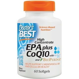 Doctor's Best, High Concentrate EPA plus CoQ10 with KD-Pür EPA and BioPerine, 60 Softgels
