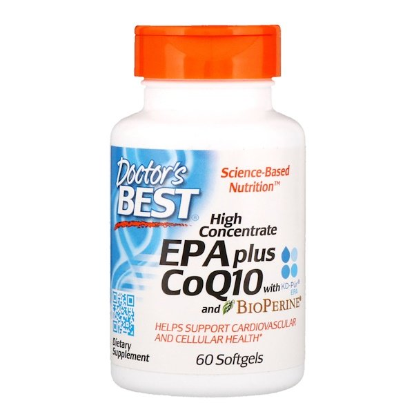 Doctor's Best, High Concentrate EPA Plus CoQ10 with KD-Pür EPA and BioPerine, 60 Softgels (Discontinued Item)