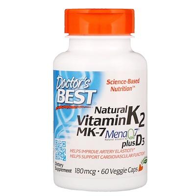 Натуральный витамин K2 MK-7 с MenaQ7 и витамином D3, 180 мкг, 60 растительных капсул