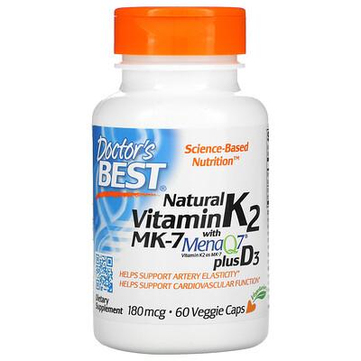 Doctor's Best Натуральный витамин K2 MK-7 с MenaQ7 и витаминомD3, 180мкг, 60растительных капсул