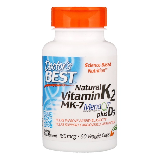 Natural Vitamin K2 MK-7 with MenaQ7 plus Vitamin D3, 180 mcg, 60 Veggie Caps