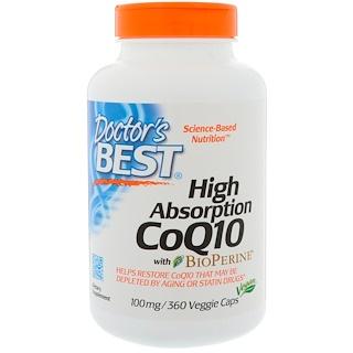Doctor's Best, CoQ10 عالي الامتصاص مع البيوبيرين، 100 ملغ، 360 كبسولة نباتية